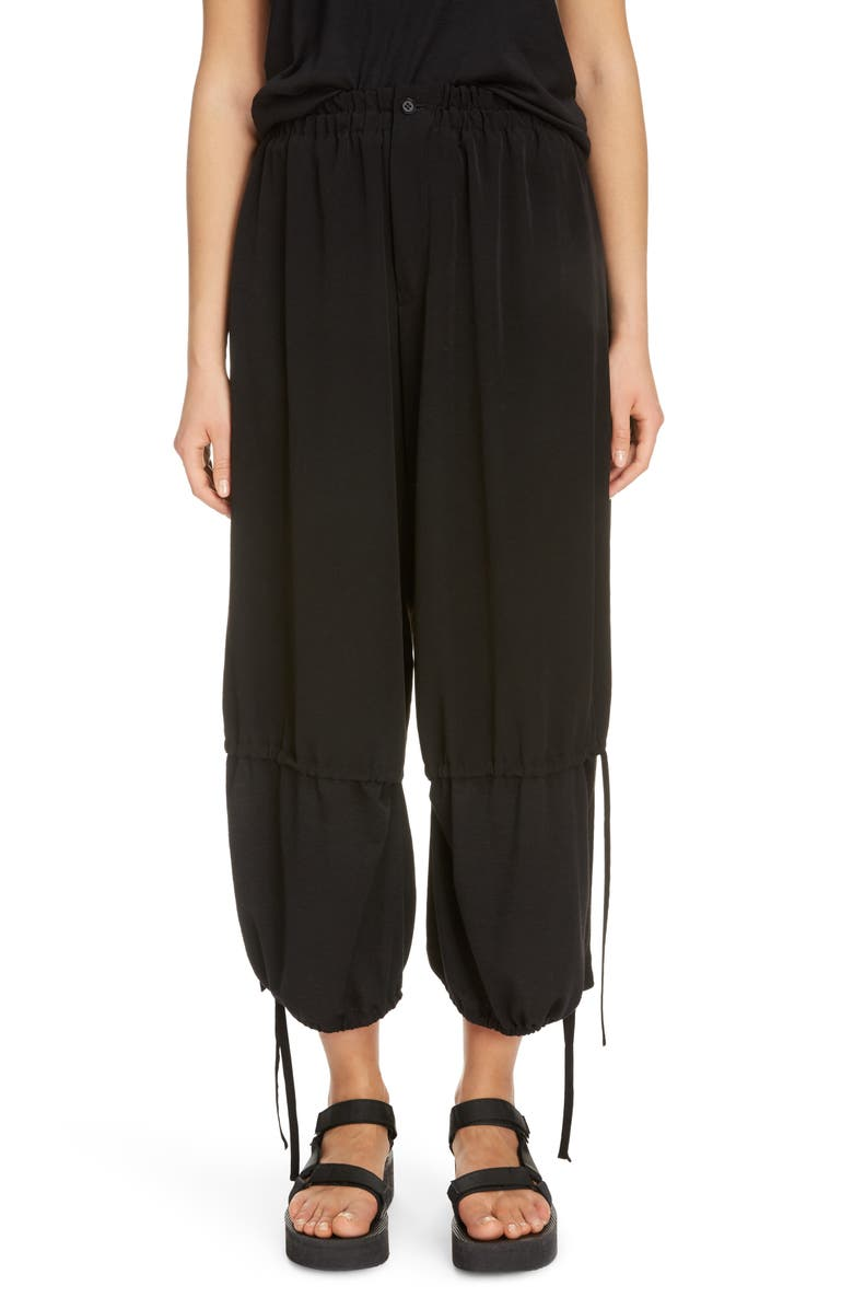 Y'S BY YOHJI YAMAMOTO Gathered Mixed Media Crop Pants, Main, color, BLACK