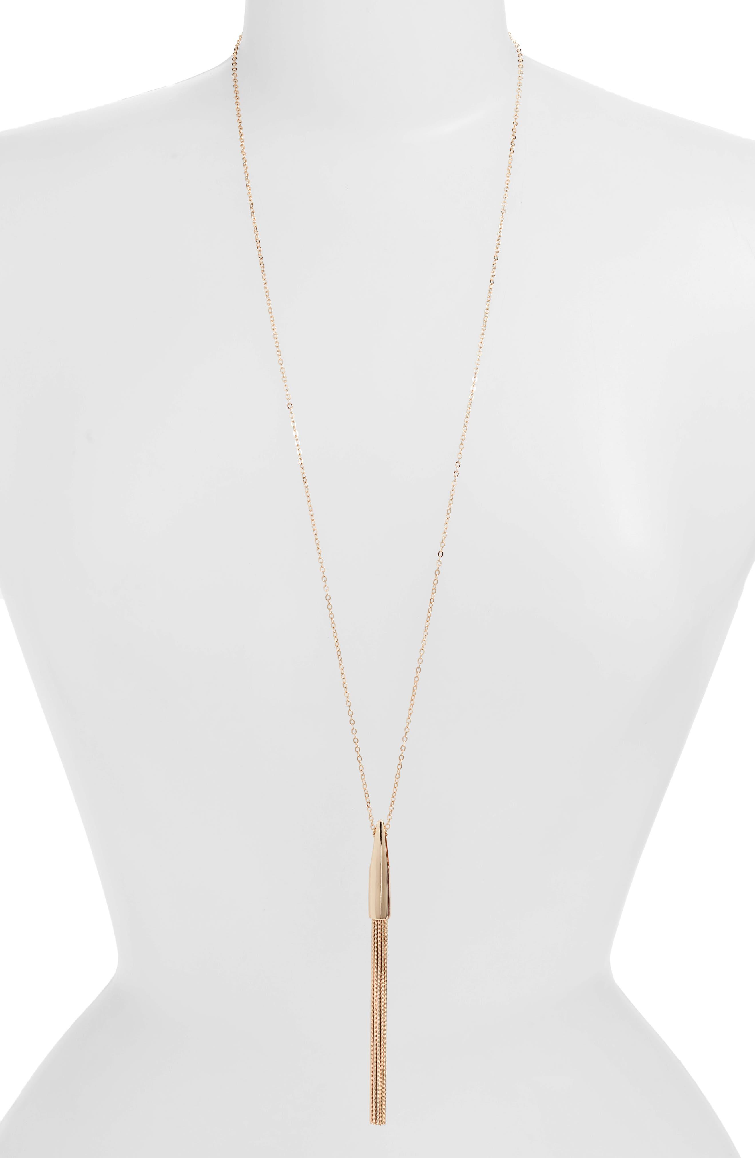 Snake Chain Tassel Pendant, Main, color, GOLD