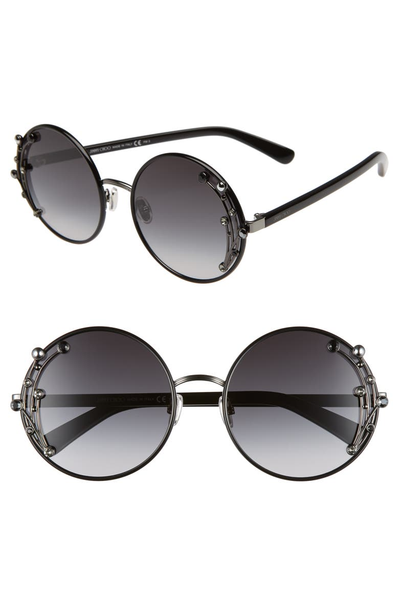 JIMMY CHOO Gema 59mm Round Sunglasses, Main, color, 001