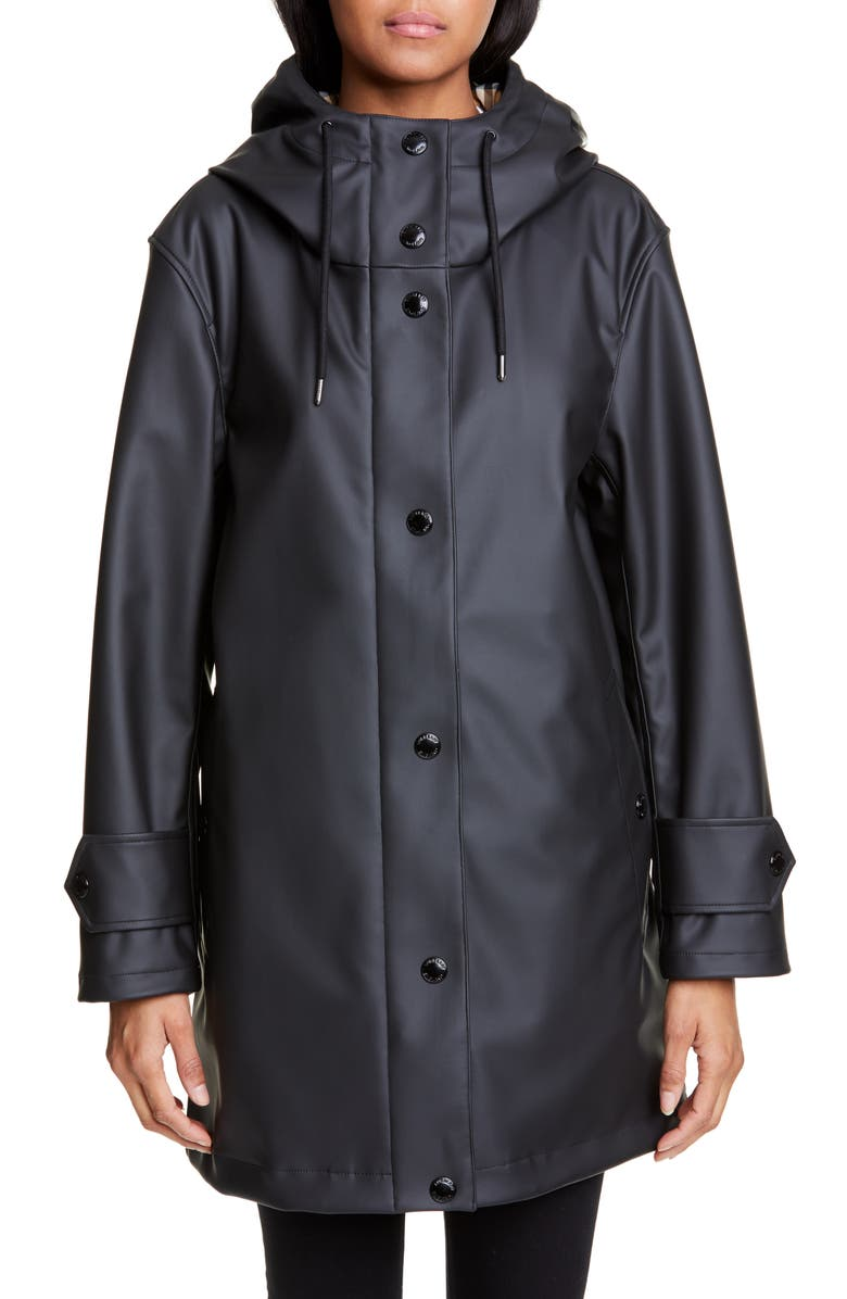 BURBERRY Hartlebury Coated Rain Coat, Main, color, 001