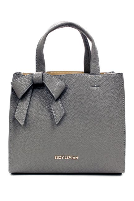 Image of Suzy Levian Pebbled Faux Leather Bow Satchel