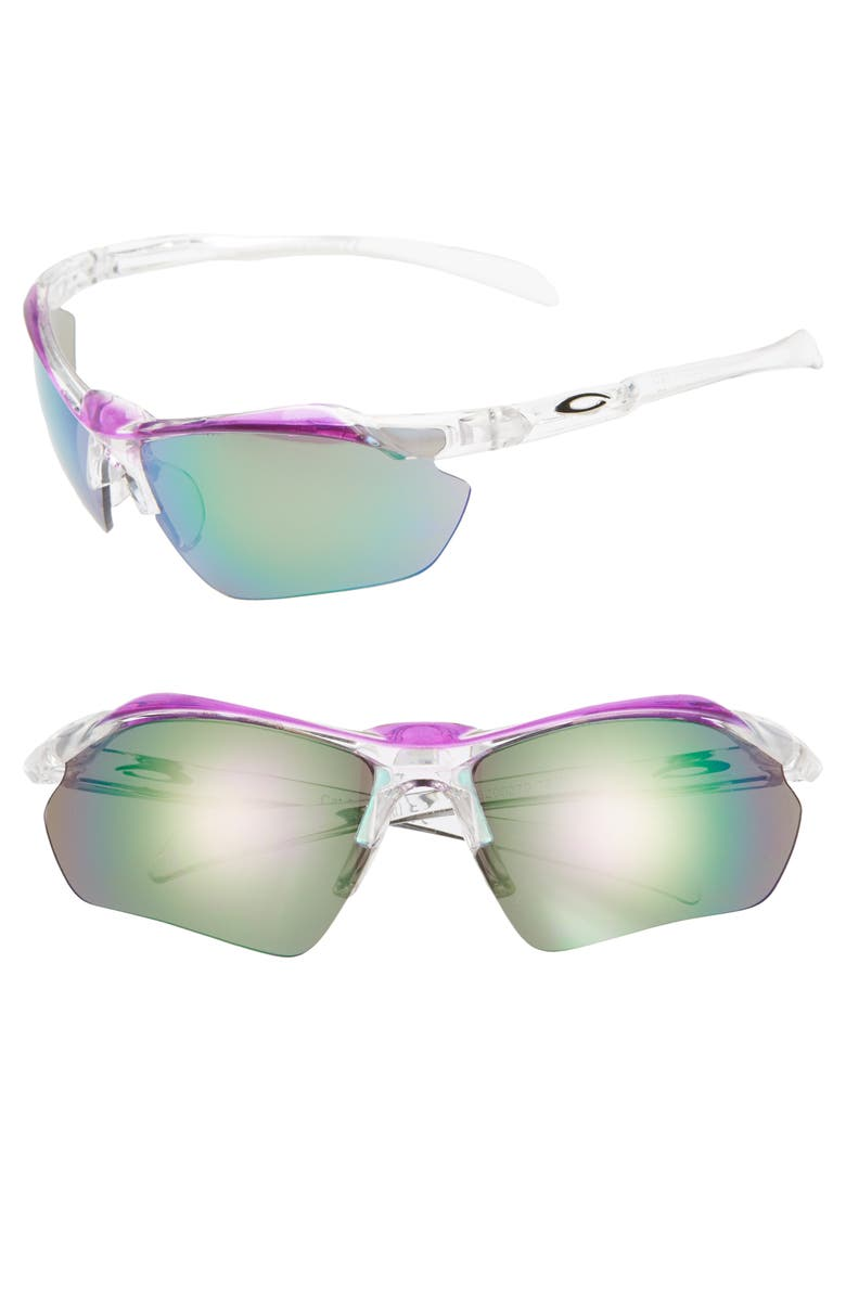 BP. 68mm Sport Shield Sunglasses, Main, color, CLEAR/ PURPLE