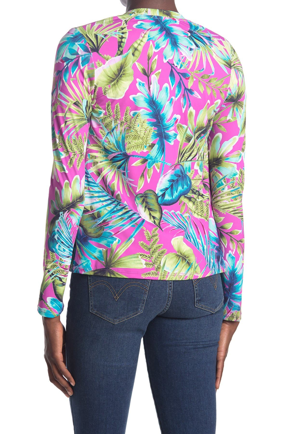 Image of Tommy Bahama Sun-Kissed Floral Printed Zip Front Rashguard