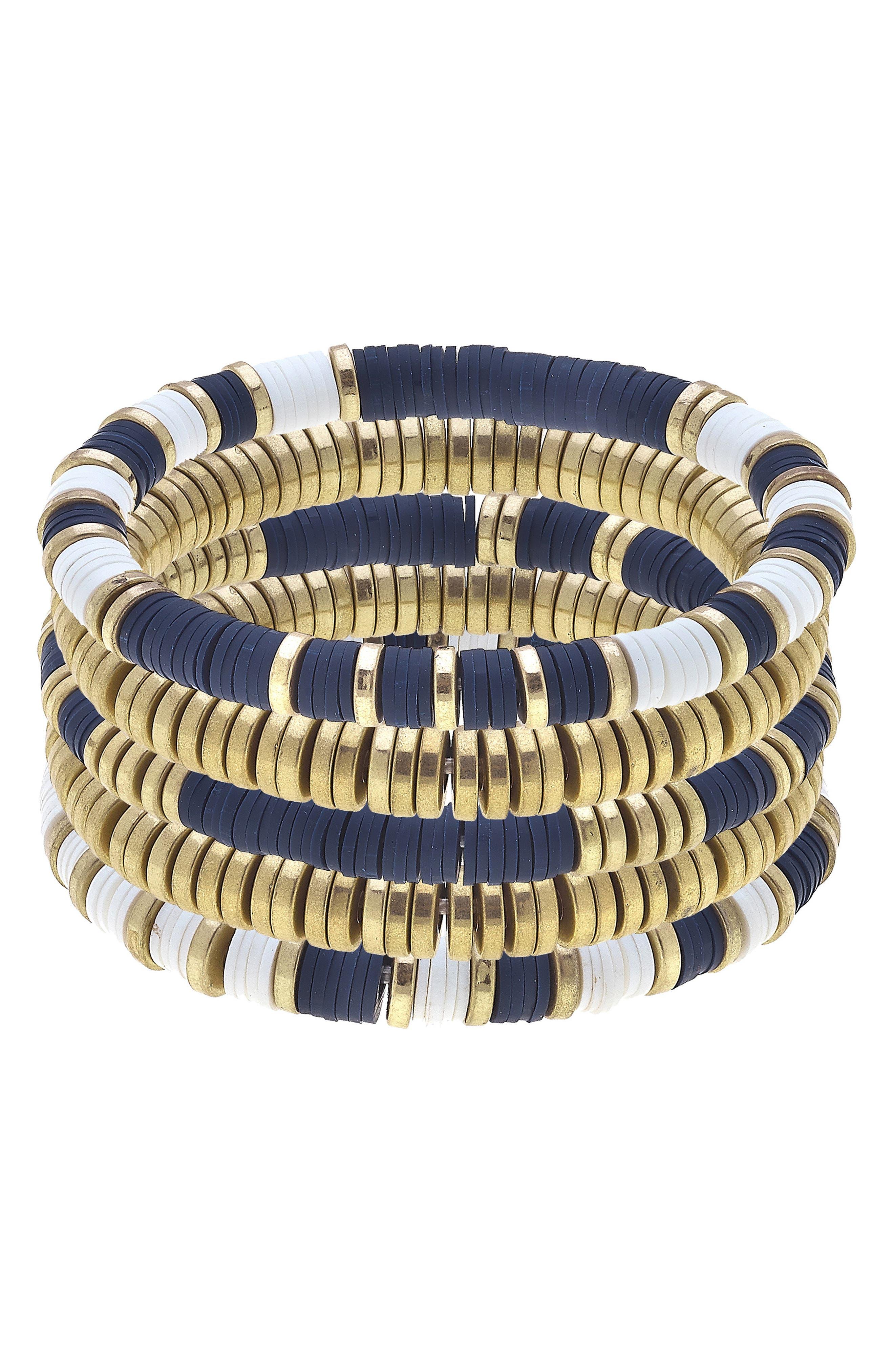 Set Of Five Beaded Stacking Bracelets