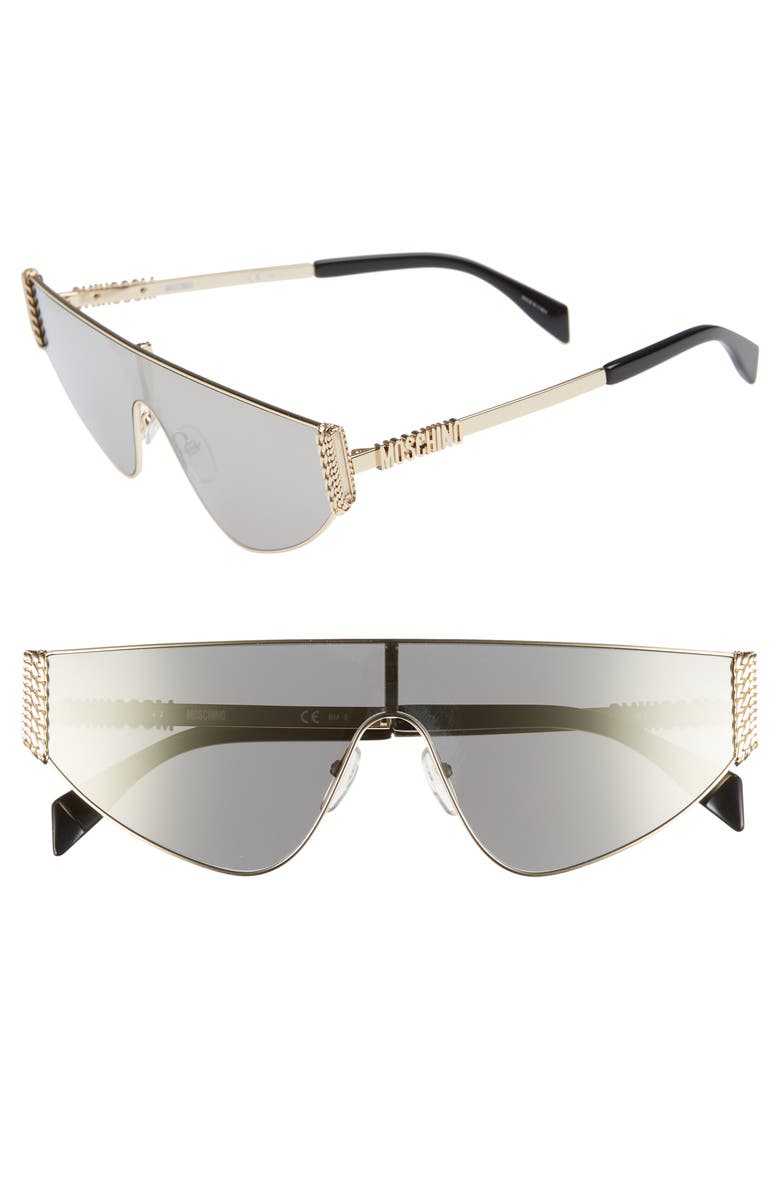 MOSCHINO 132mm Shield Sunglasses, Main, color, GOLD