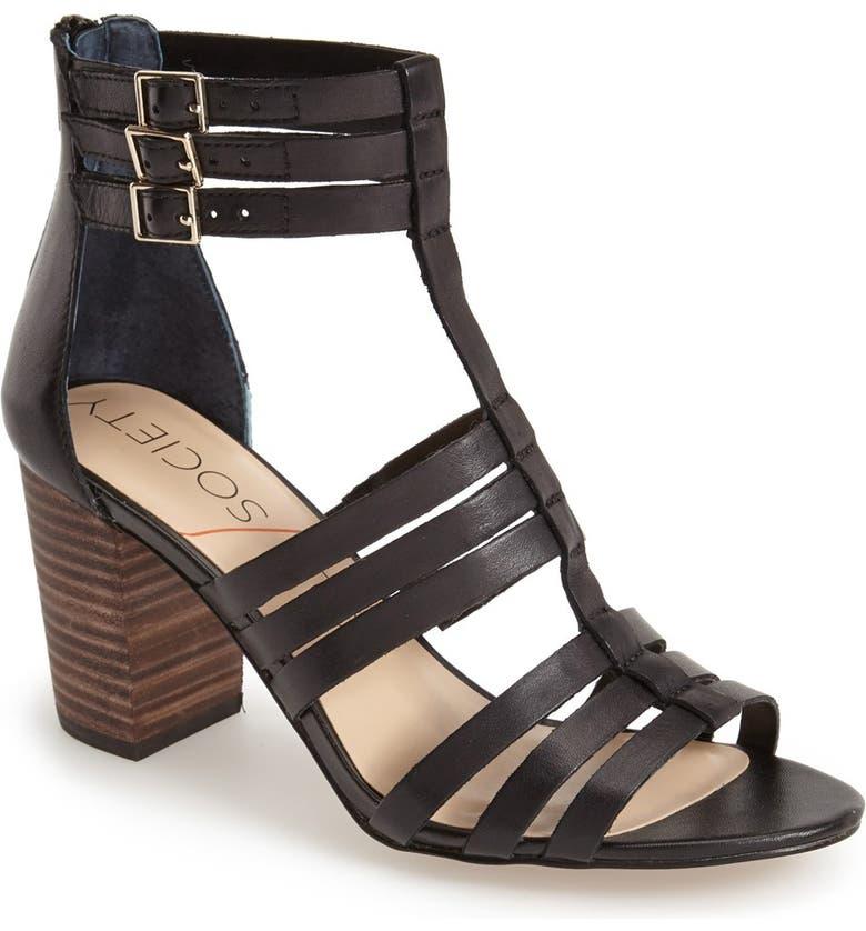 SOLE SOCIETY 'Elise' Gladiator Sandal, Main, color, 001
