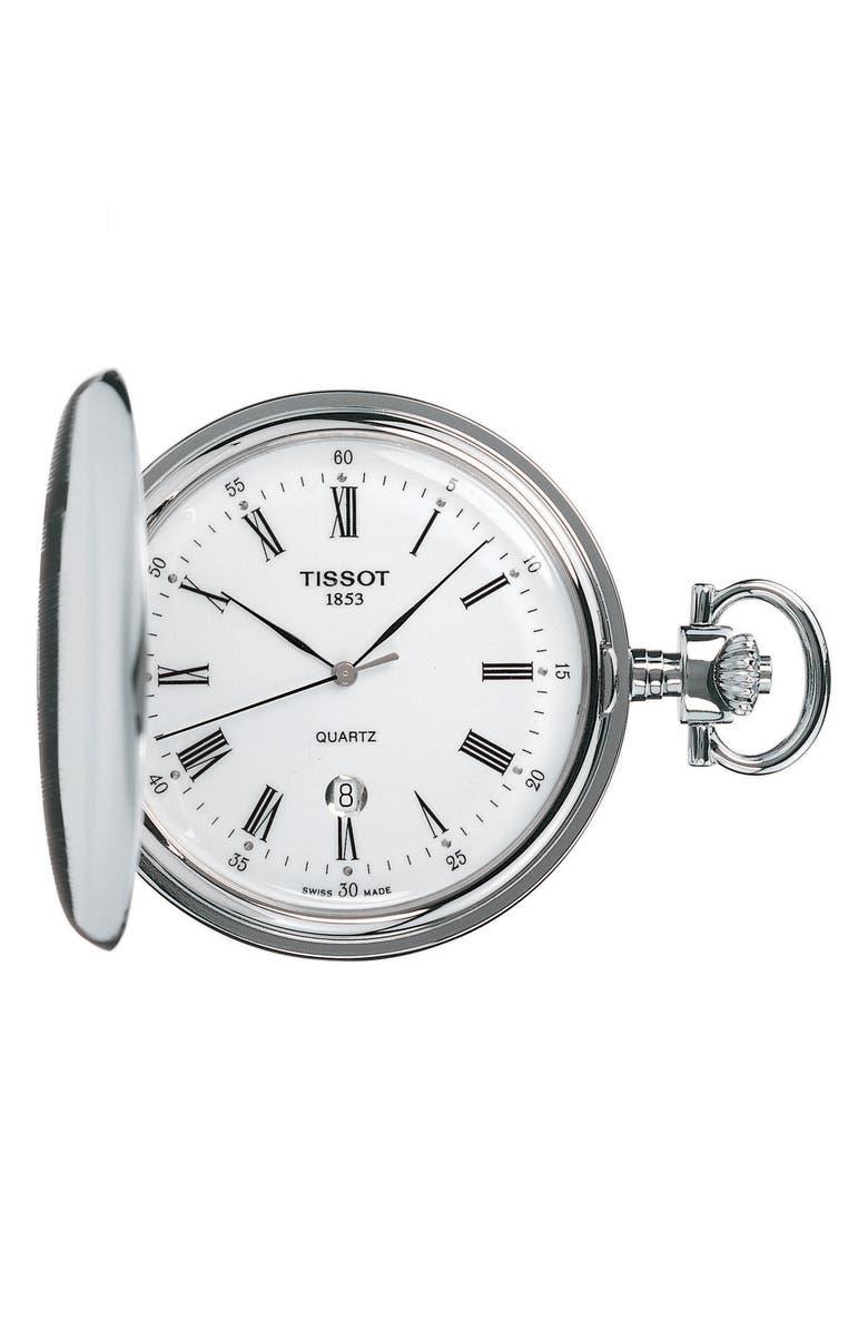 TISSOT Savonnette Pocket Watch, 48mm, Main, color, SILVER/ WHITE