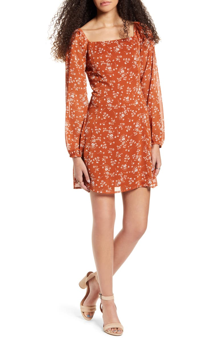 ONE CLOTHING Floral Print Long Sleeve Minidress, Main, color, RUST