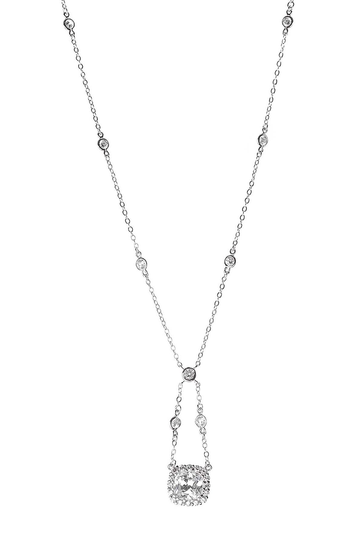 Image of CZ By Kenneth Jay Lane CZ Cushion Swing Pendant Necklace