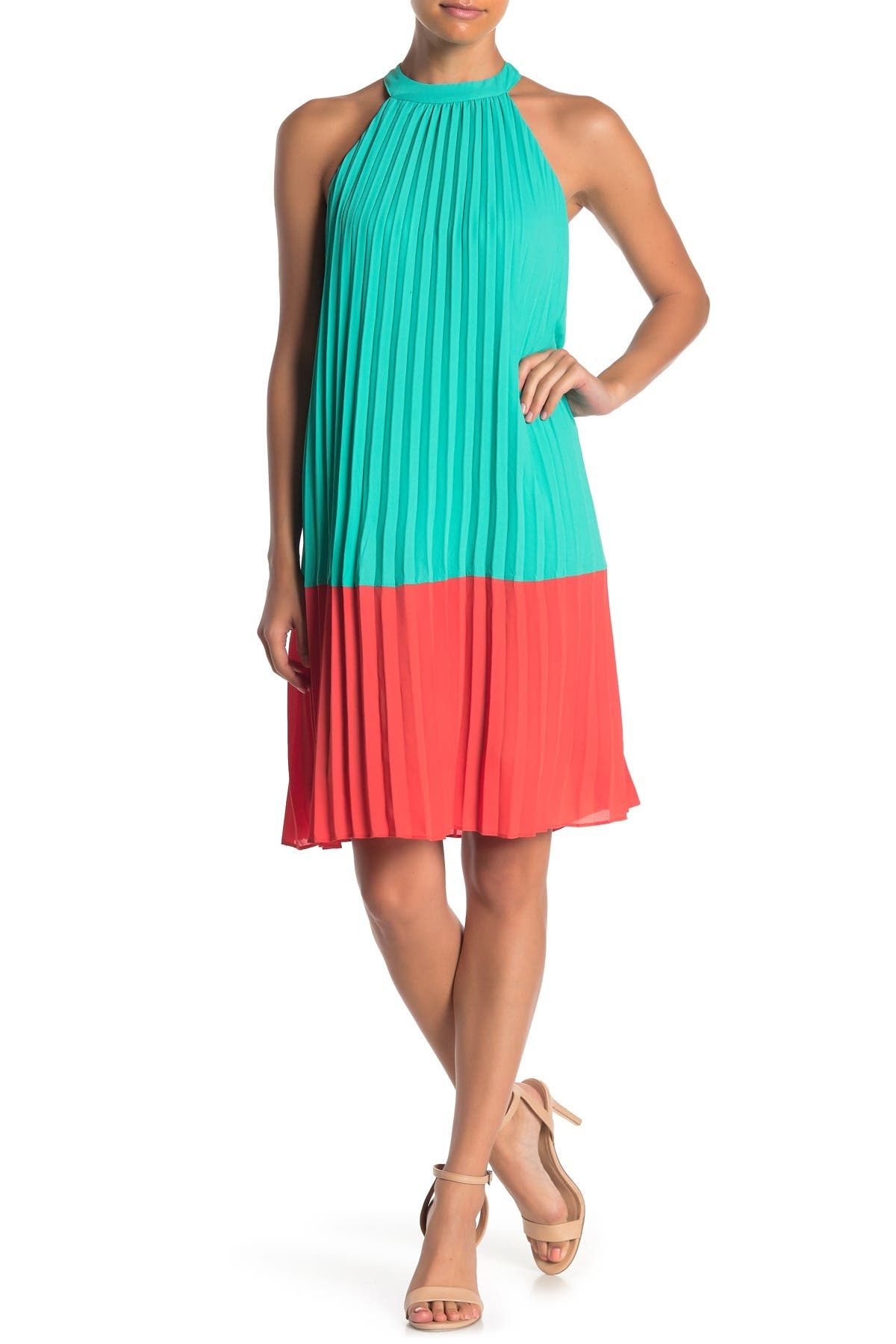 Image of ONE ONE SIX Colorblock Pleated Mini Dress
