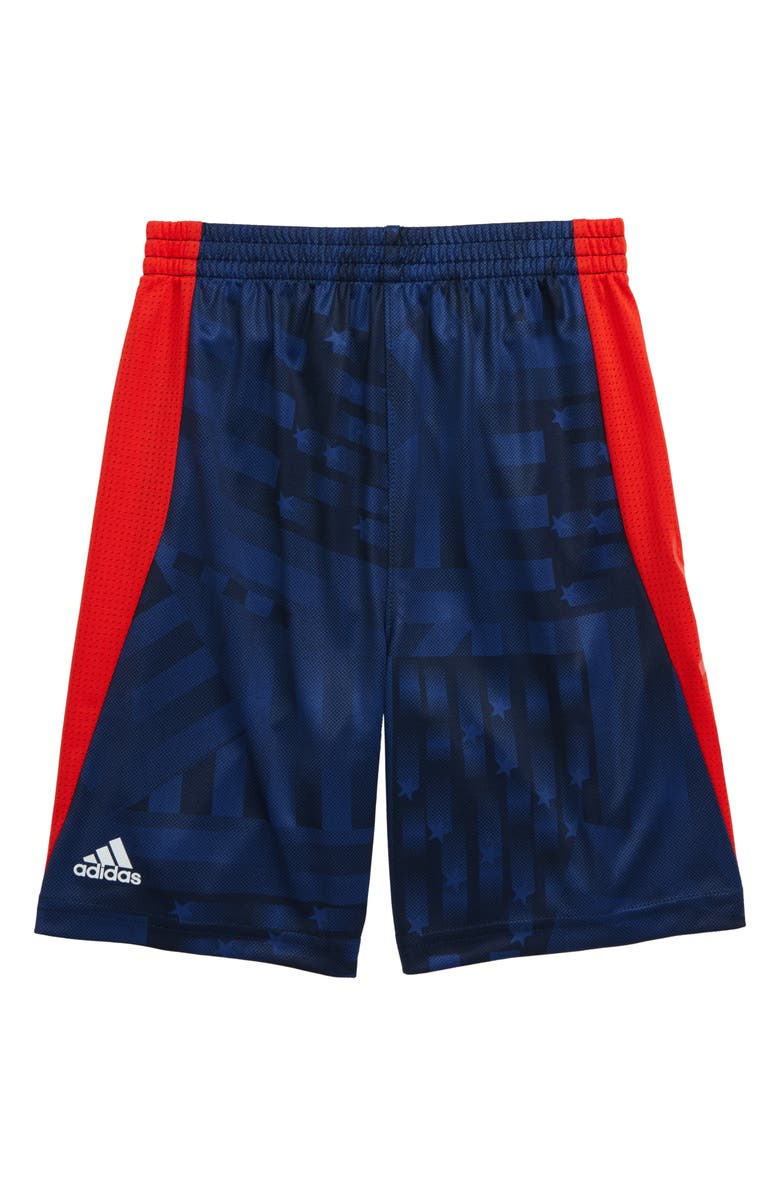ADIDAS Climalite<sup>®</sup> USA Flag Athletic Shorts, Main, color, NAVY/ RED