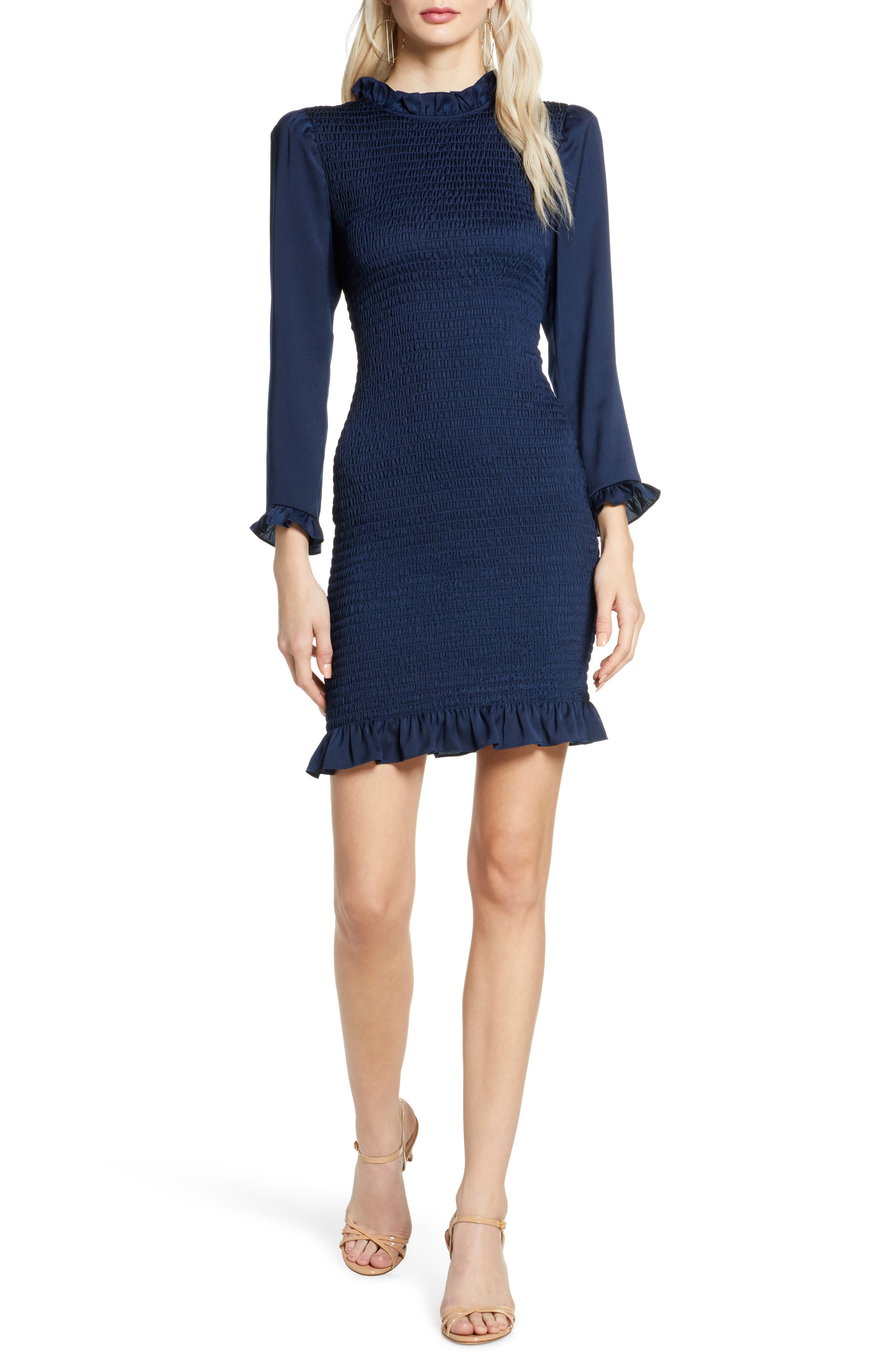 Invites Only Smocked Long Sleeve Minidress by Ali &Amp; Jay