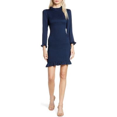 Ali & Jay Invites Only Smocked Long Sleeve Minidress, Blue