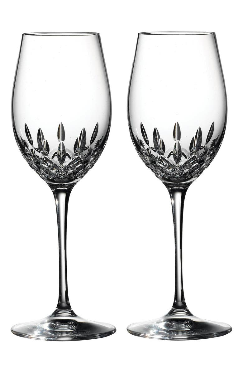 Waterford Lismore Essence Lead Crystal White Wine Glasses Set Of 2