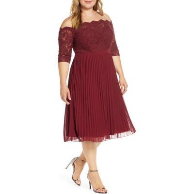 Plus Size Chi Chi London Curve Ioana Lace & Pleated Chiffon Cocktail Dress, Burgundy
