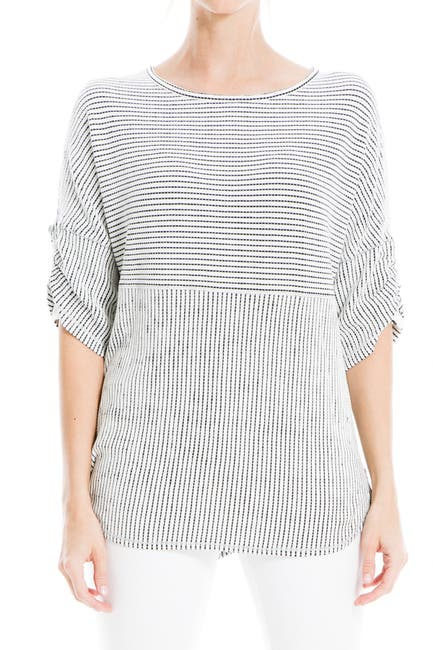 Image of Max Studio Striped Ruched Elbow Sleeve Textured Top