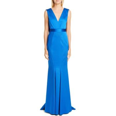Zac Zac Posen Santia Plunge Back Gown, Blue