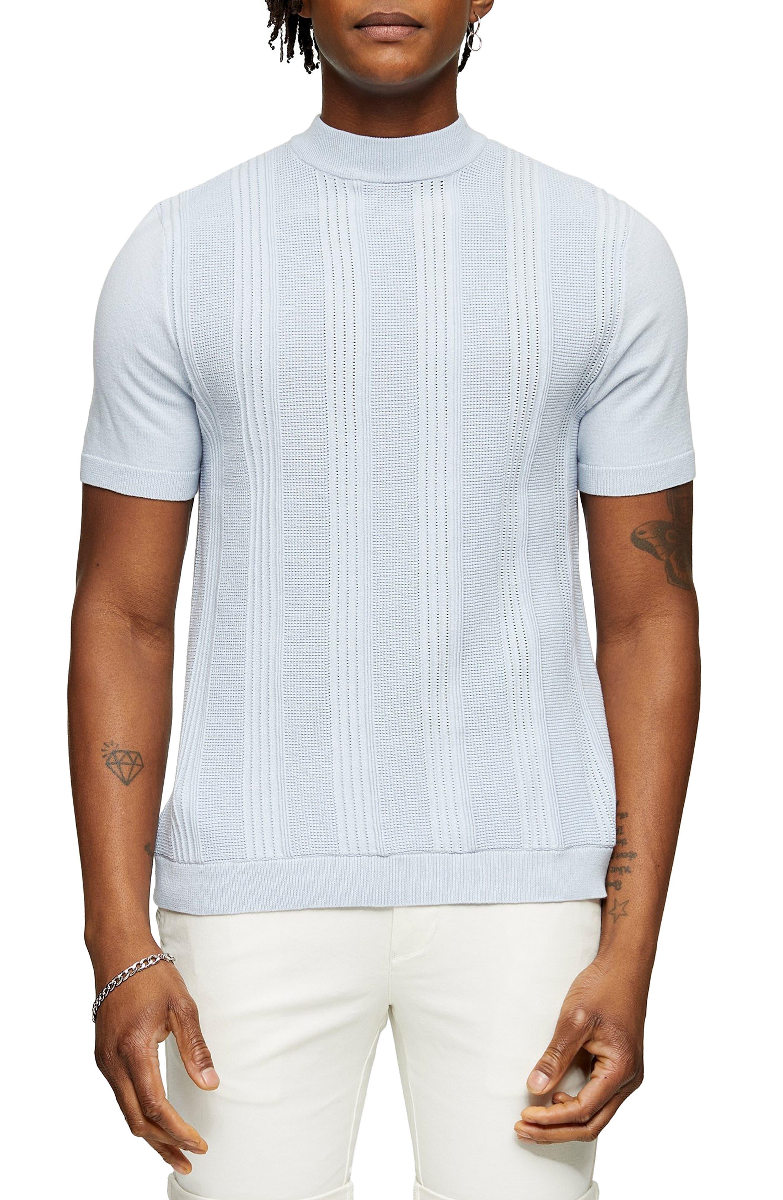 Mens Vintage Shirts – Retro Shirts Mens Topman Mock Neck Short Sleeve Sweater Size XX-Large - Blue $40.00 AT vintagedancer.com