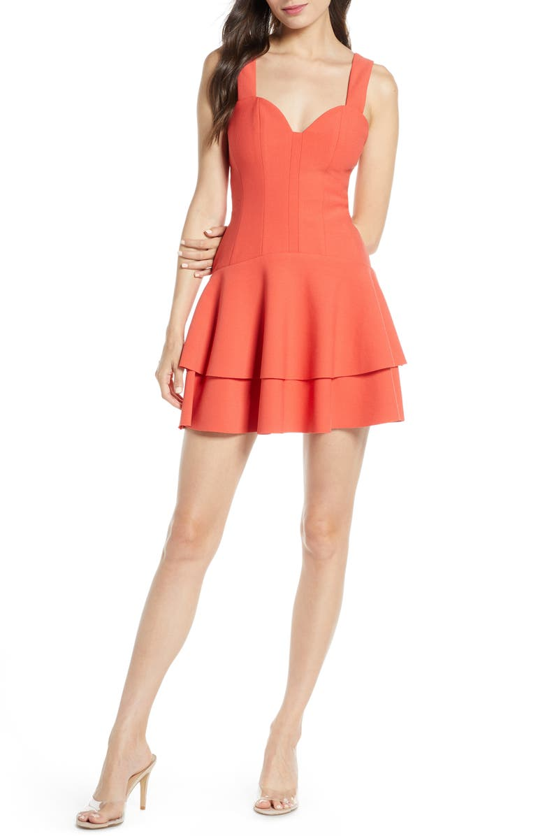 FINDERS KEEPERS Lines Tiered Minidress, Main, color, RED