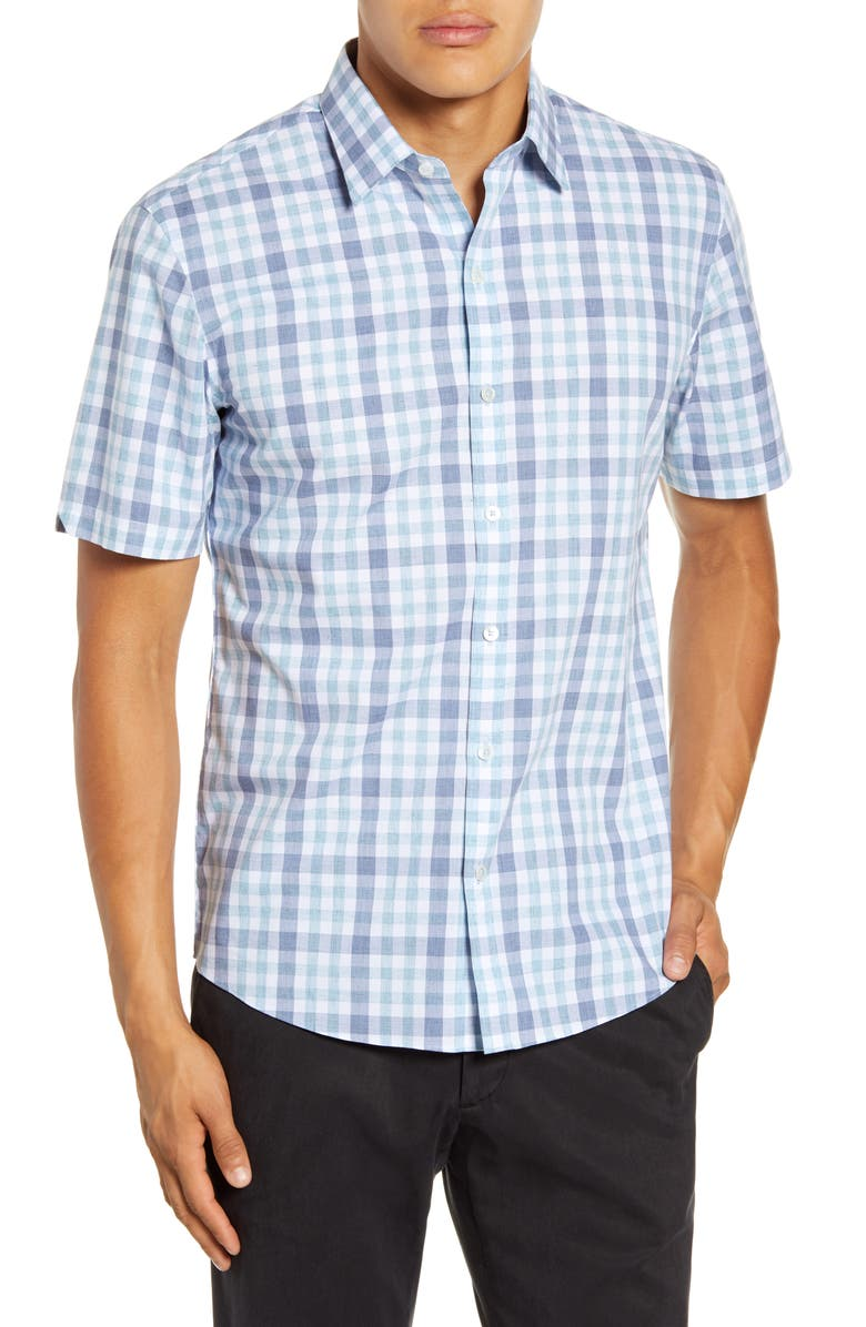 ZACHARY PRELL Vidal Regular Fit Check Short-Sleeve Button-Up Sport Shirt, Main, color, LIGHT GREY