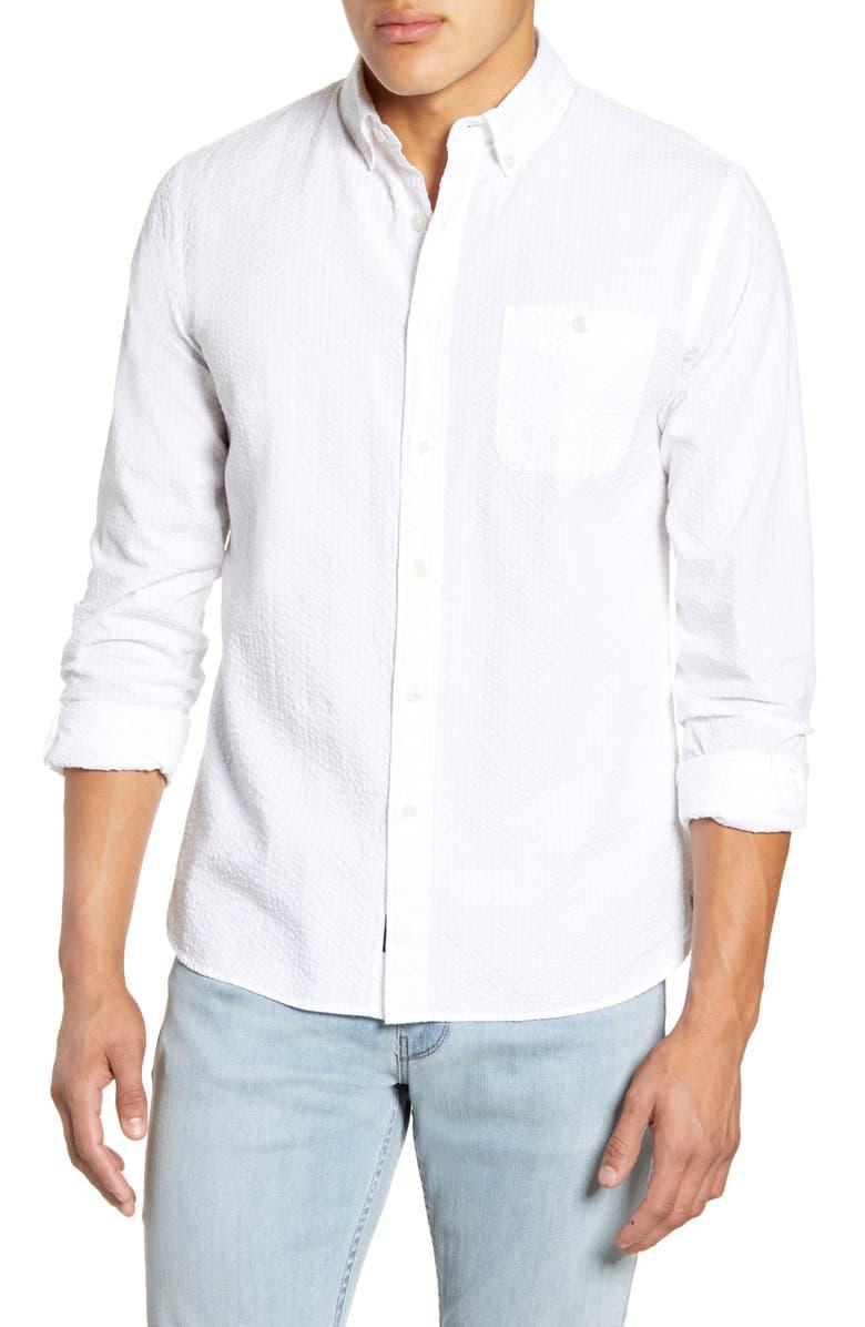 TODD SNYDER Slim Fit Seersucker Button-Down Shirt, Main, color, WHITE