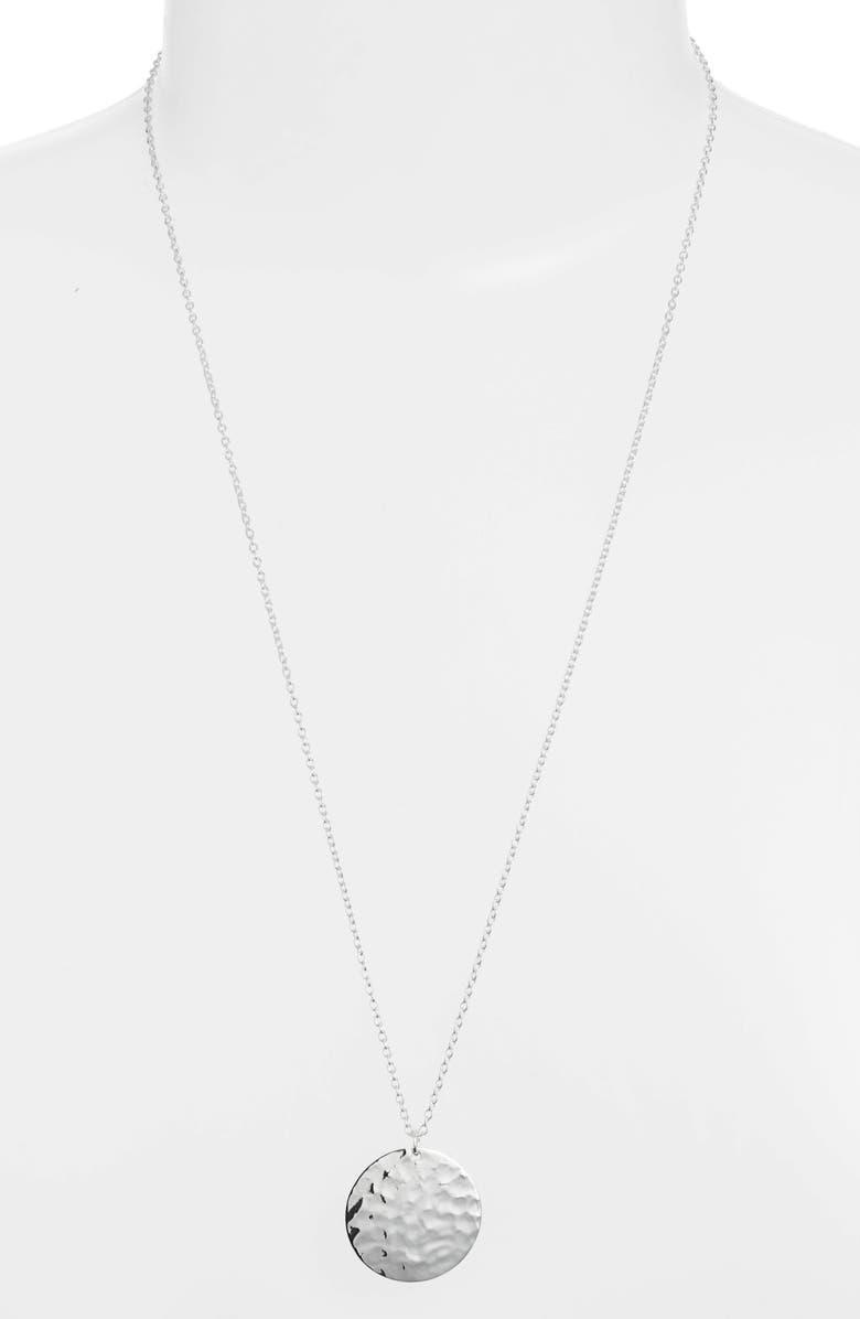 ARGENTO VIVO Hammered Pendant Necklace, Main, color, SILVER