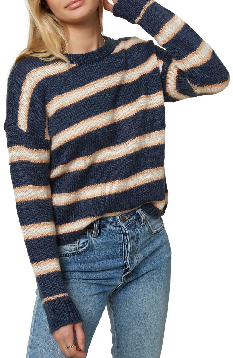 O'NEILL Daze Stripe Crop Sweater, Main, color, 404