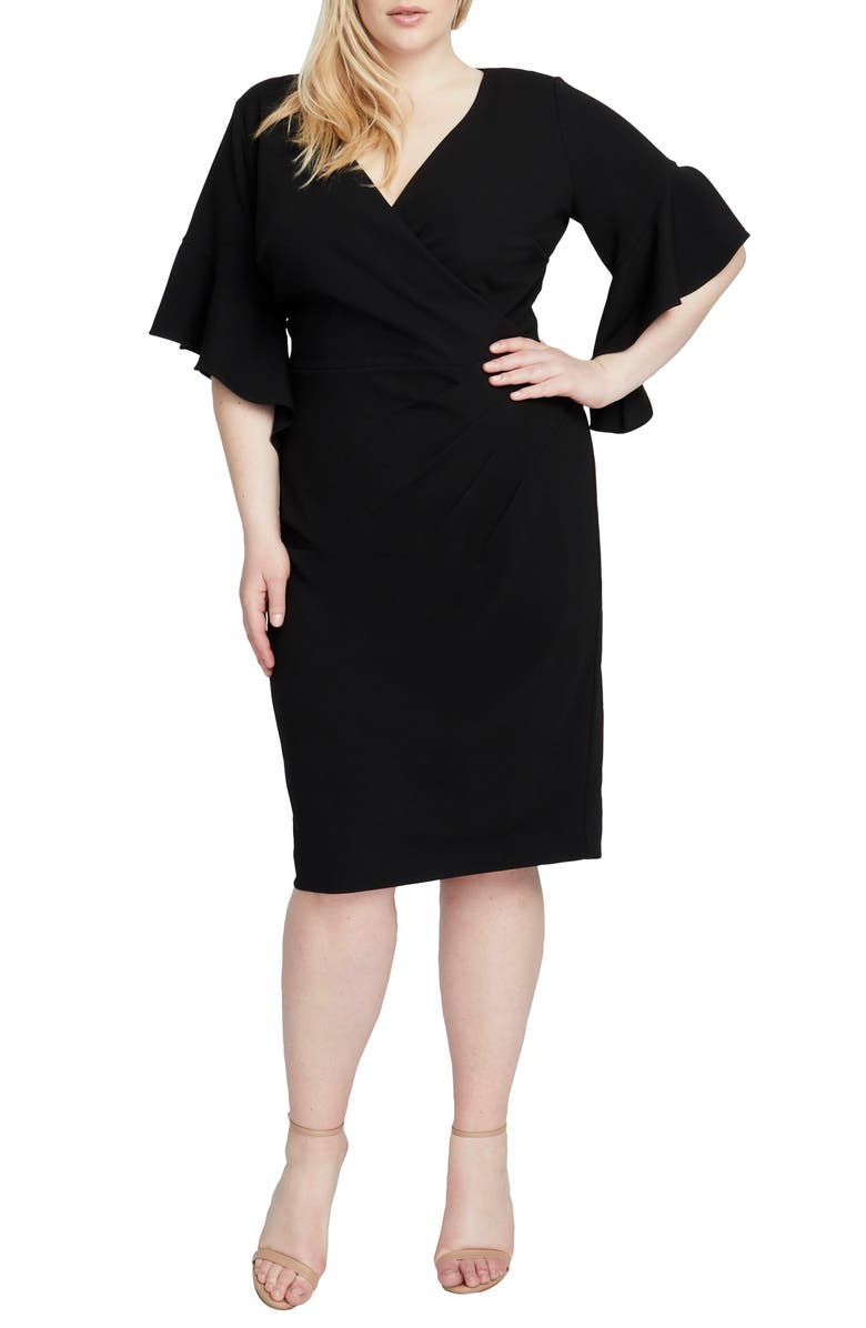 RACHEL RACHEL ROY Ruffle Sleeve Midi Dress, Main, color, BLACK