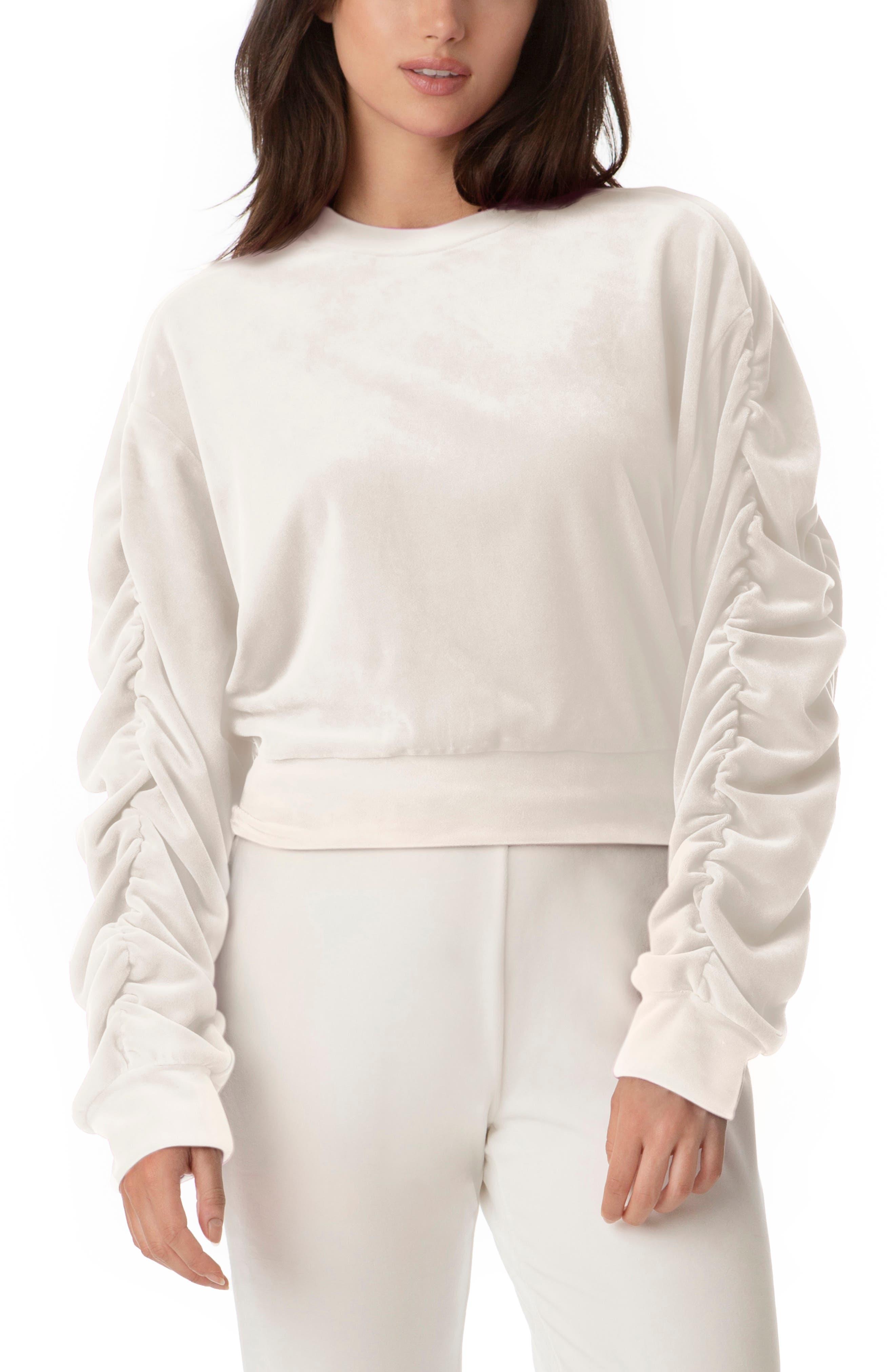 Ruched Sleeve Stretch Velvet Sweatshirt