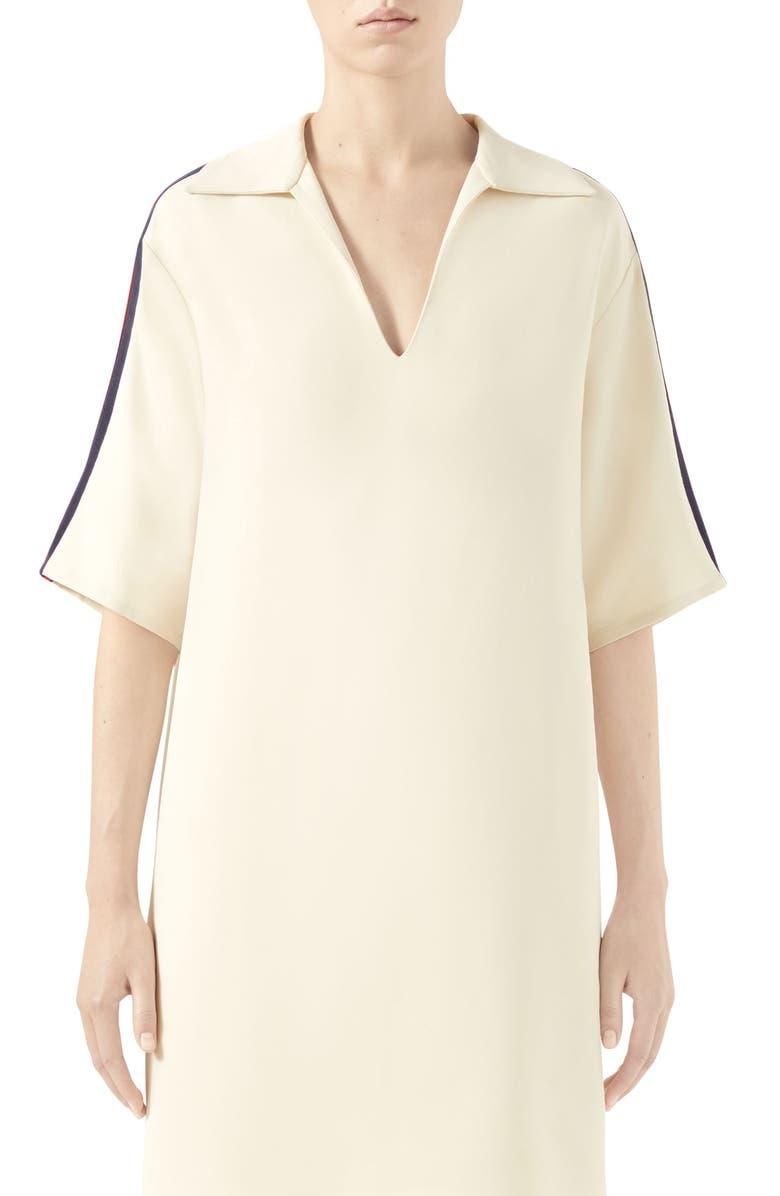 GUCCI Web Trim Oversize Stretch Cady Shirt, Main, color, GARDENIA/ MIX
