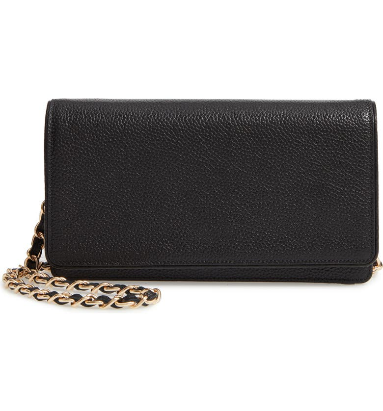 NORDSTROM Sandra Leather Clutch, Main, color, BLACK