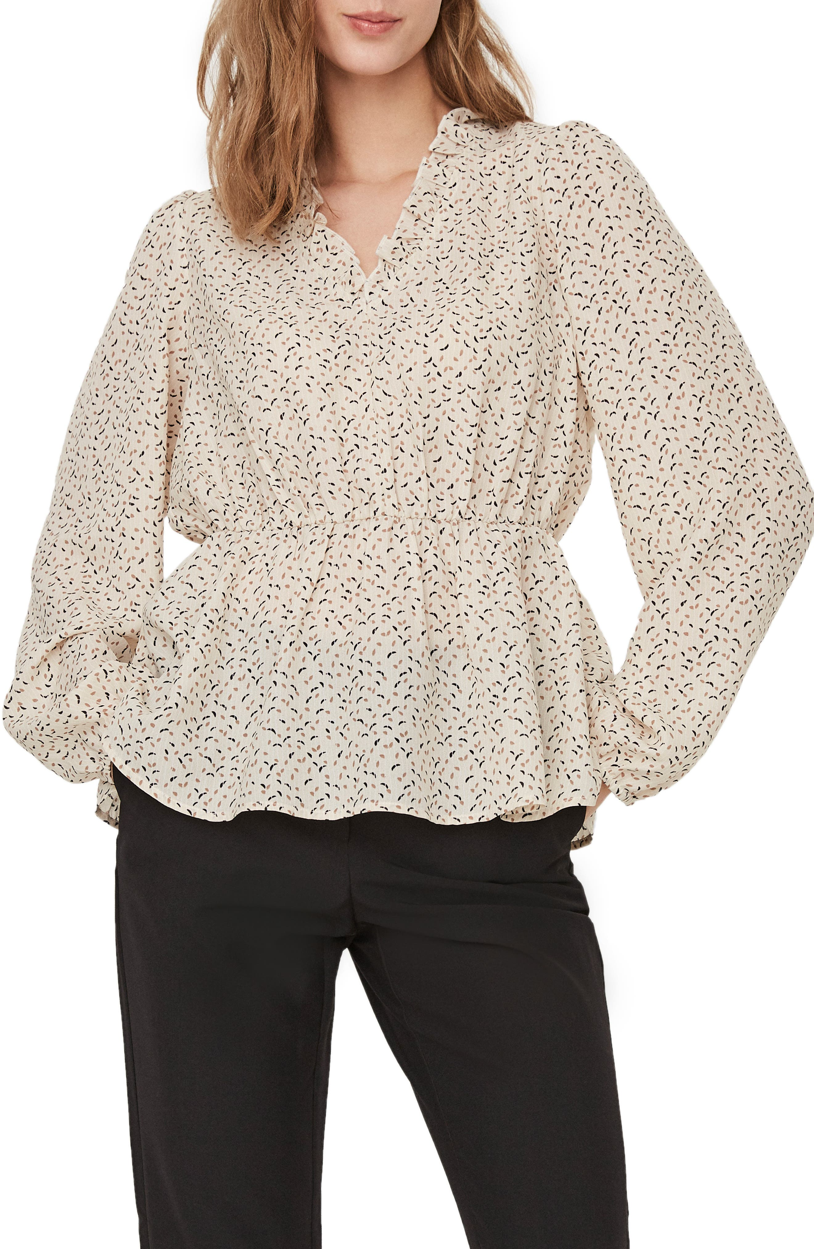 Image of AWARE BY VERO MODA Printed Frill Neck Peplum Blouse