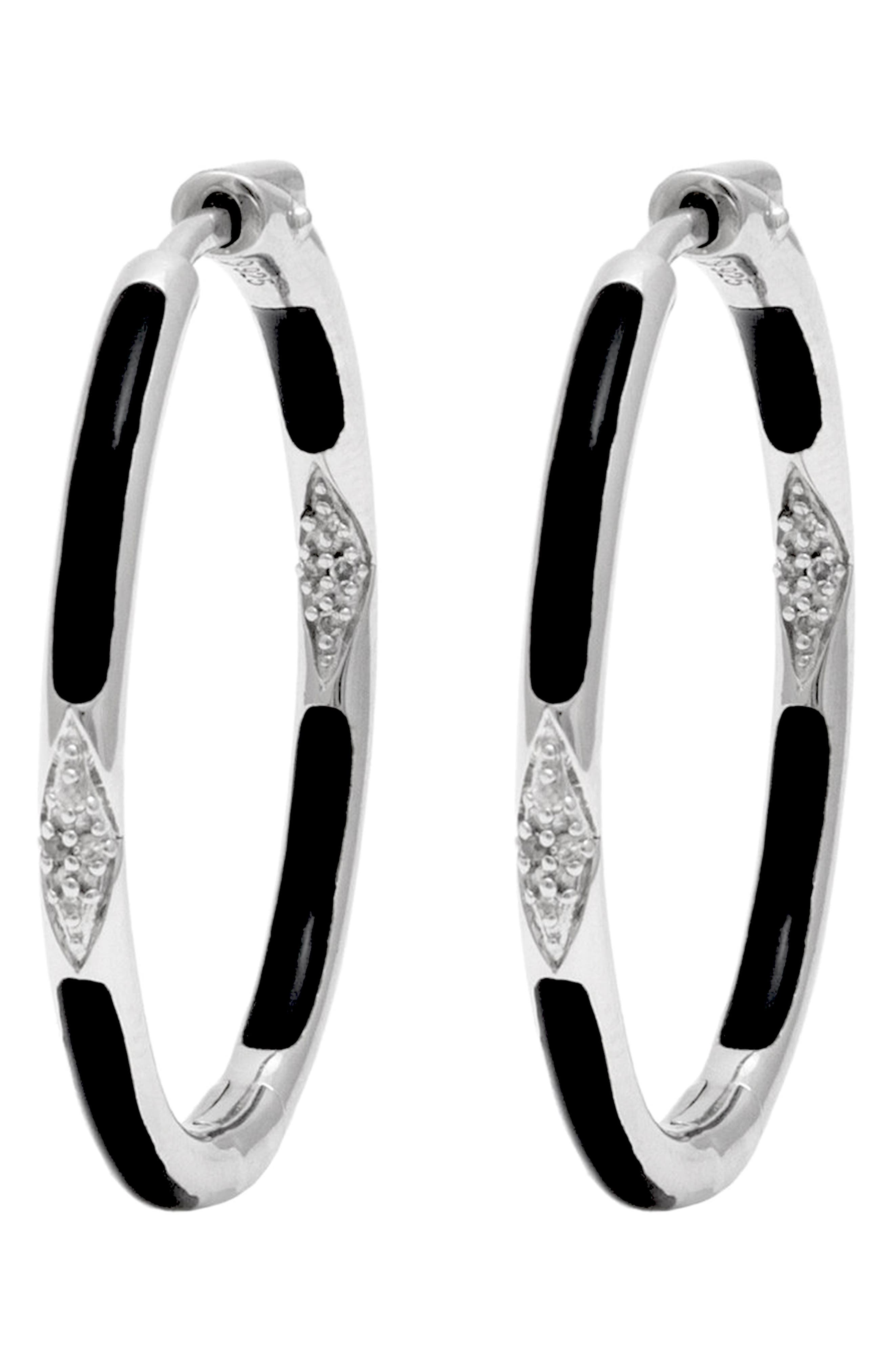 Diamond & Enamel Hoop Earrings
