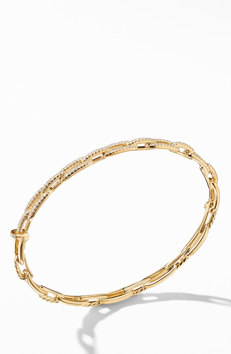 DAVID YURMAN Stax 18K Gold Chain Link Bracelet with Diamonds, 4mm, Main, color, YELLOW GOLD