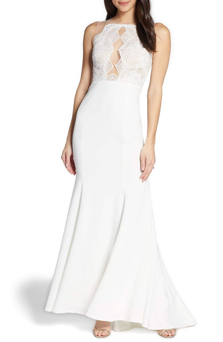 BY WATTERS Cutout Lace Bodice Wedding Dress, Main, color, 900
