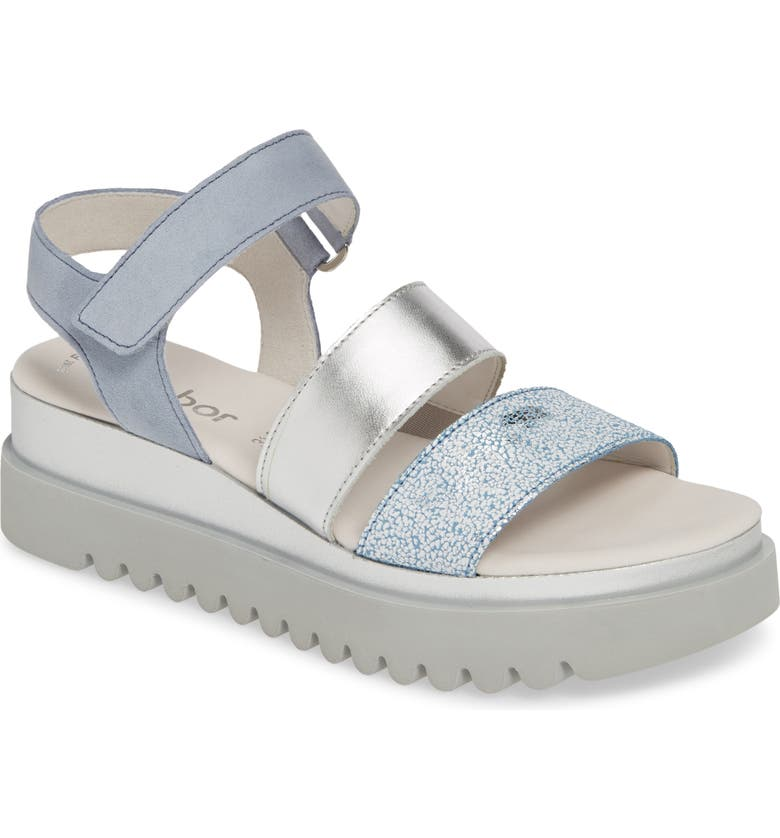 GABOR Platform Sandal, Main, color, BLUE LEATHER
