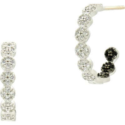 Freida Rothman Industrial Finish Small Pave Hoop Earrings
