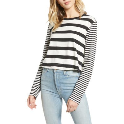 Splendid Cody Stripe Crop Long Sleeve Tee, White
