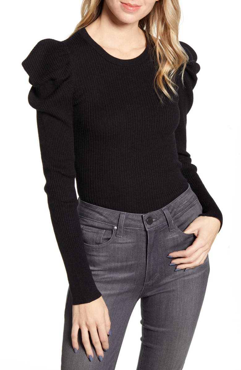 SPLENDID Allstone Puff Sleeve Sweater, Main, color, 001