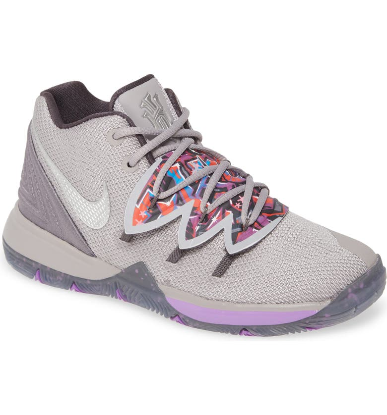 NIKE Kyrie 5 Basketball Shoe, Main, color, ATMOSPHERE GREY/ METALLI