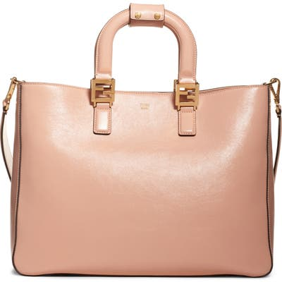 Fendi Medium Glacier Top Handle Leather Tote - Pink