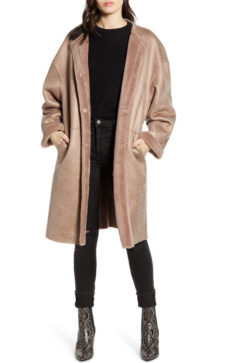 REBECCA MINKOFF Mara Faux Shearling Lined Wool Coat, Main, color, MAUVE
