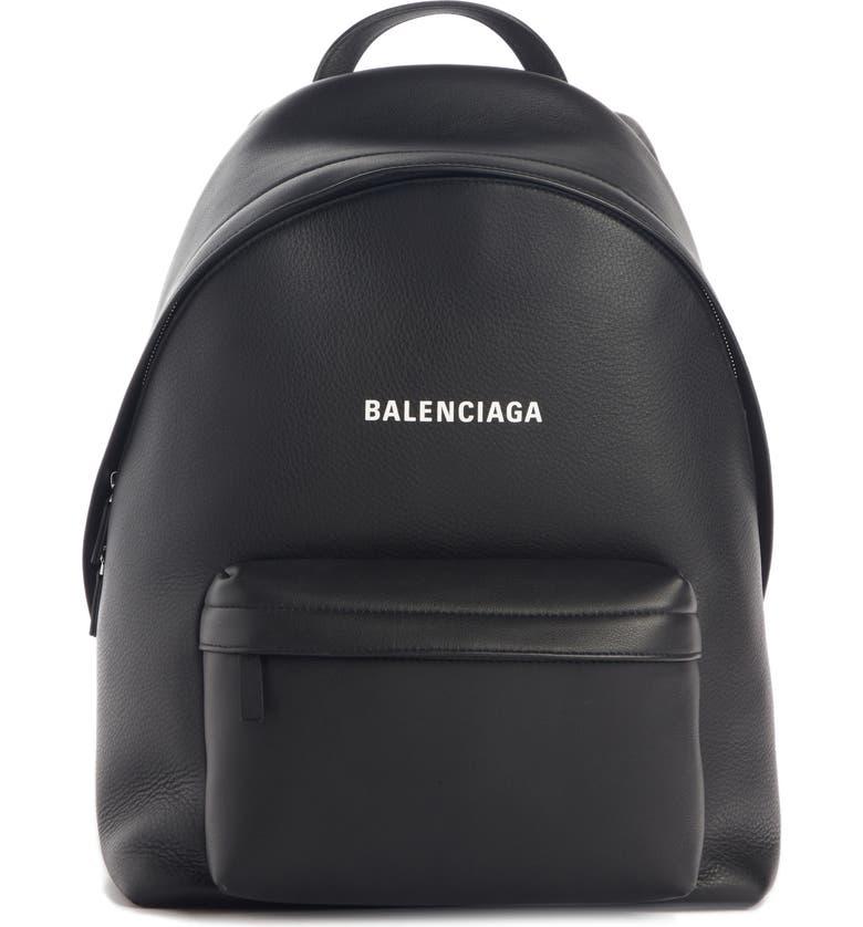 BALENCIAGA Everyday Logo Calfskin Leather Backpack, Main, color, BLACK/ WHITE