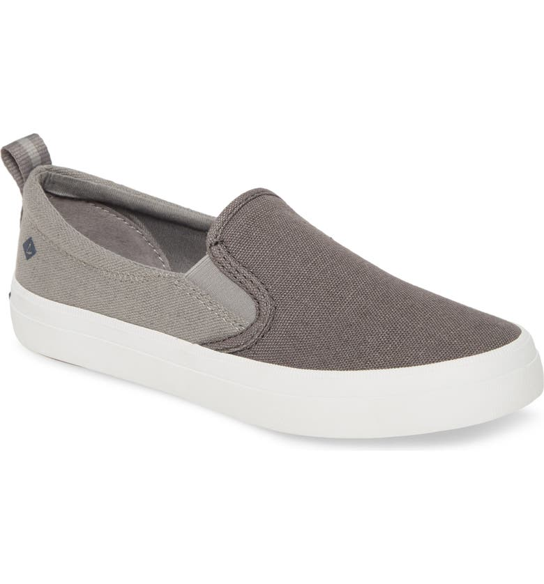 SPERRY Crest Twin Gore Slip-On Sneaker, Main, color, GREY CANVAS