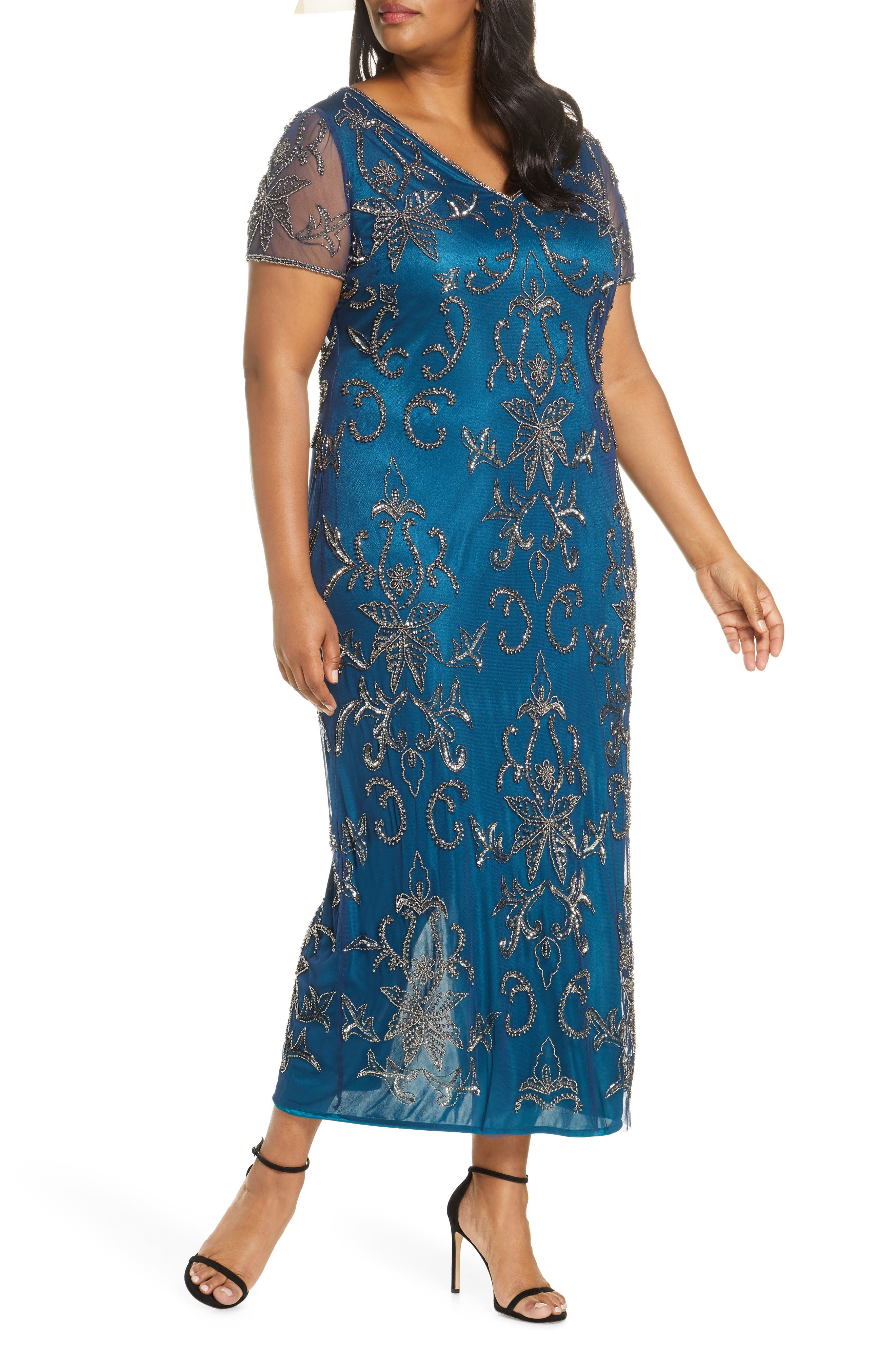 Downton Abbey Inspired Dresses Plus Size Womens Pisarro Nights V-Neck Beaded Mesh Column Gown Size 24W - Blue $248.00 AT vintagedancer.com