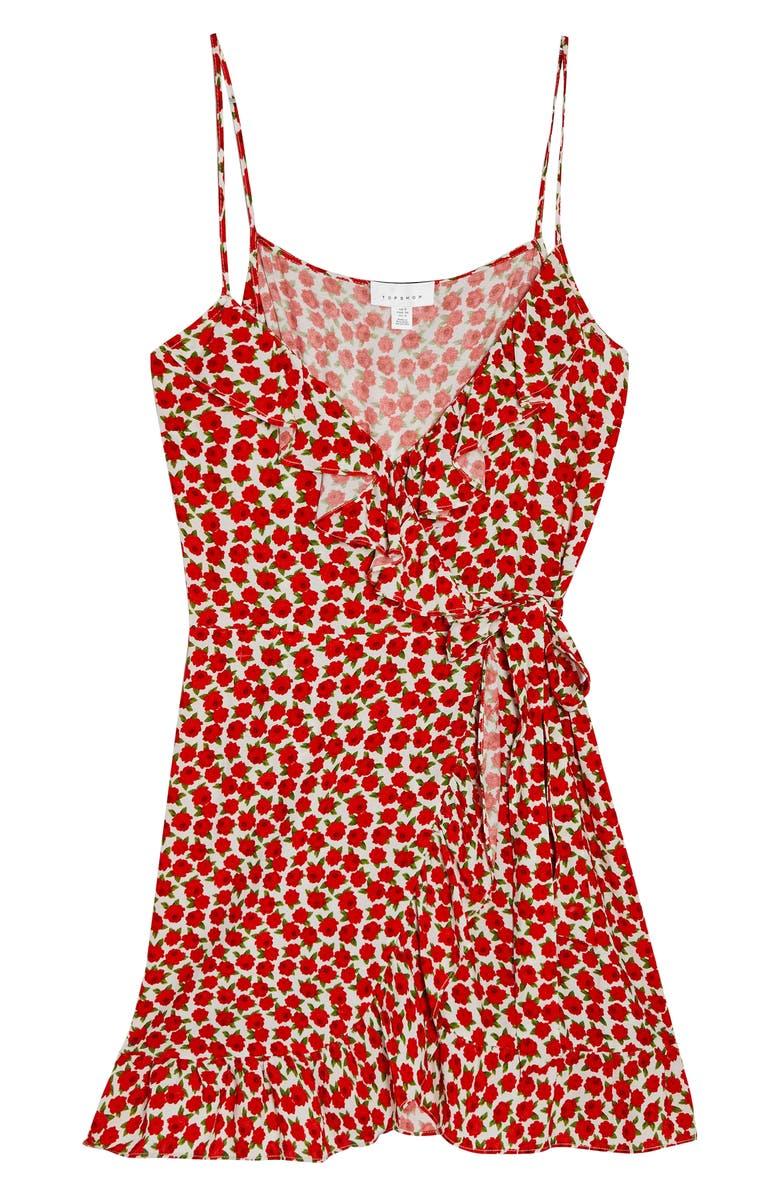 TOPSHOP Wrap Minidress, Main, color, 600