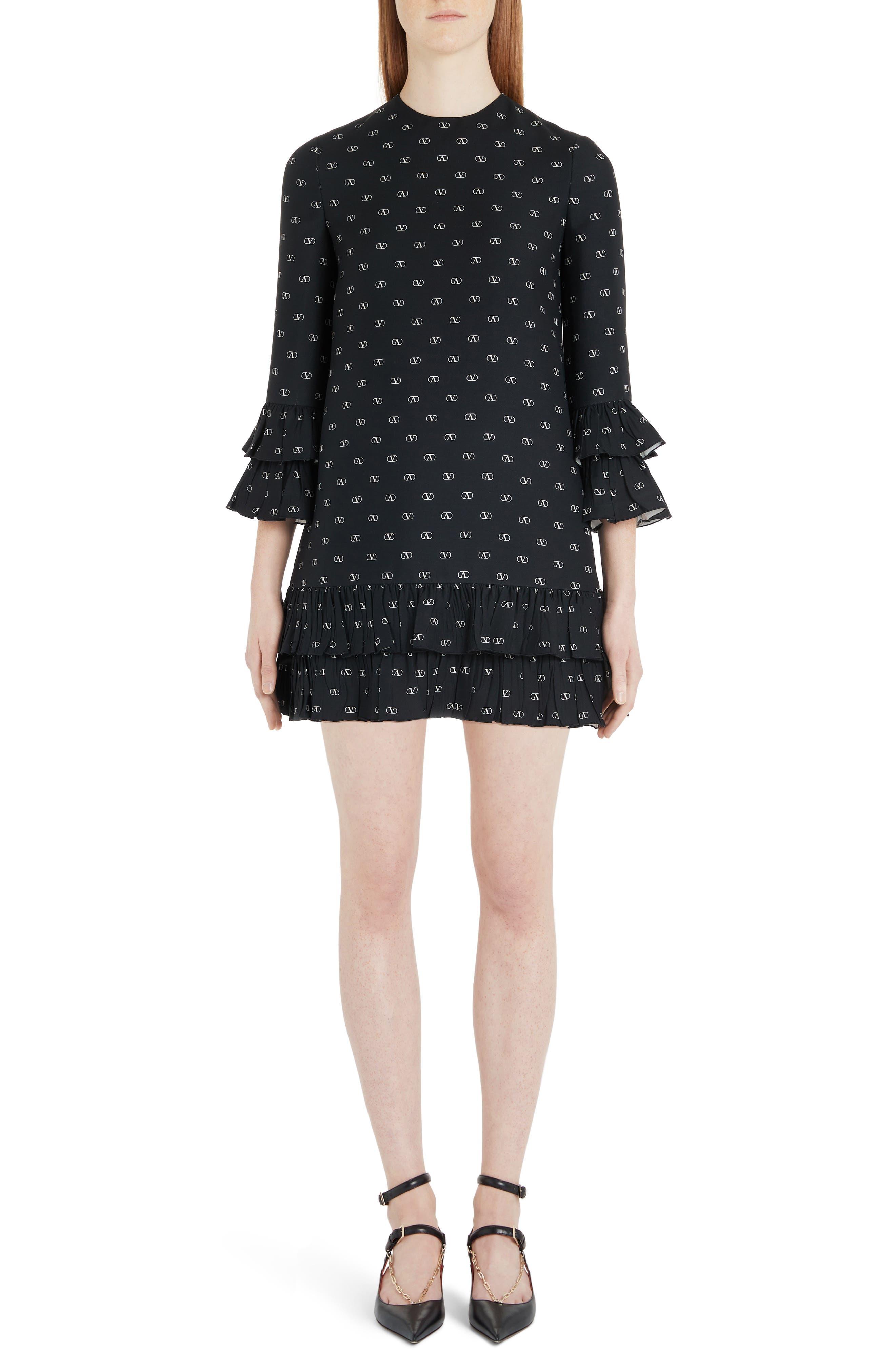 Valentino Logo Print Ruffle Trim Wool & Silk Minidress, 8 IT - Black