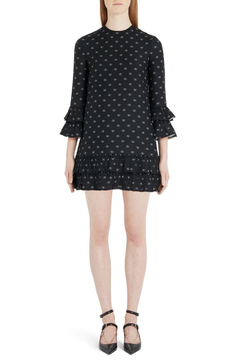 VALENTINO Logo Print Ruffle Trim Wool & Silk Minidress, Main, color, 0NA-BLACK/ IVORY