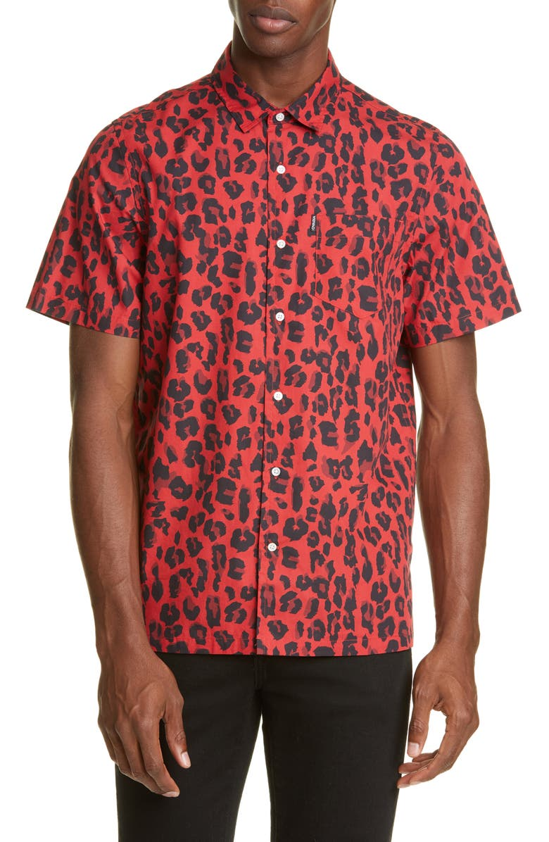 OVADIA & SONS Red Leopard Short Sleeve Button-Up Shirt, Main, color, RED
