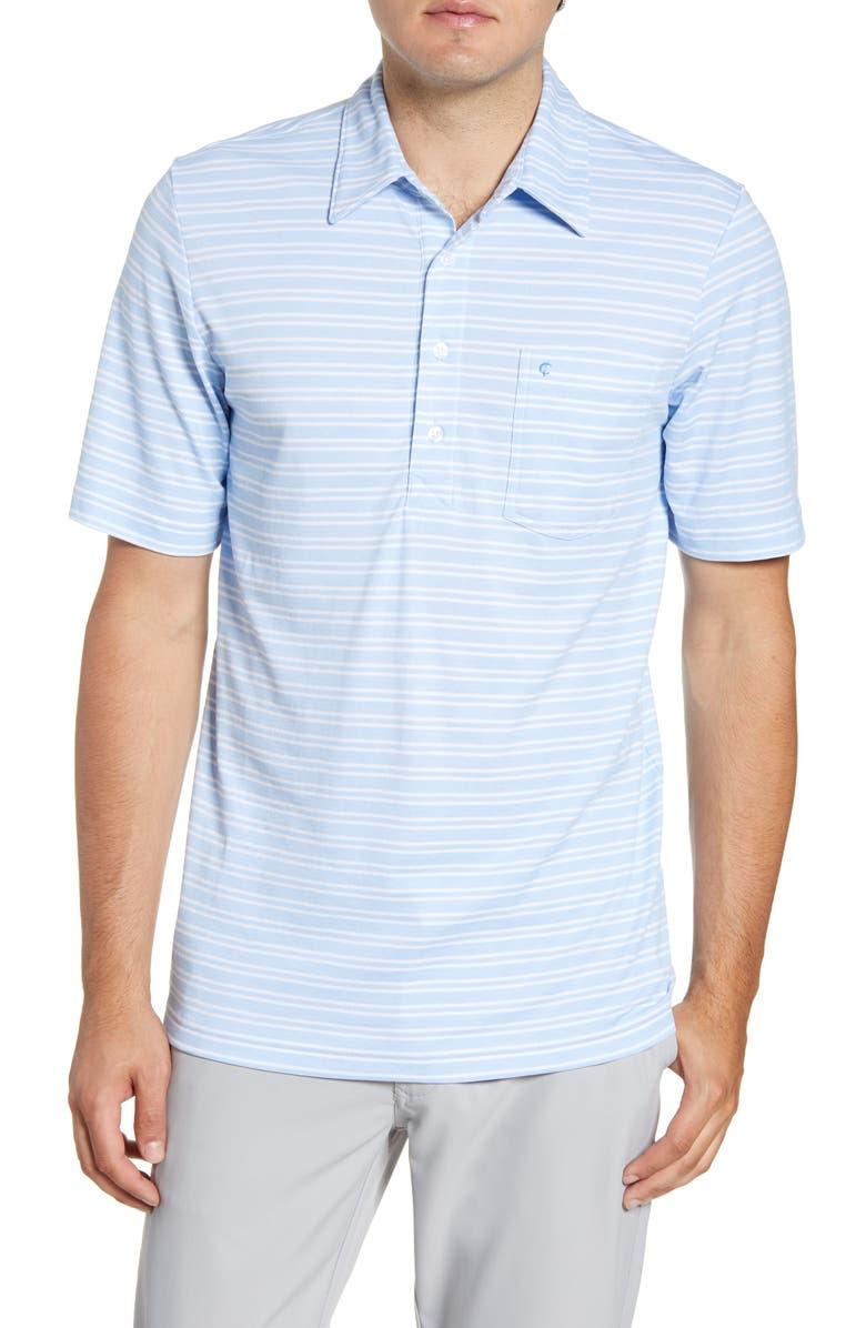 CRIQUET Players Regular Fit Stripe Piqué Pocket Polo, Main, color, LIGHT BLUE/ WHITE STRIPE